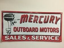 MERCURY OUTBOARD MOTORS VINTAGE 2x4 OLD SCHOOL BANNER reproduction mancave boats