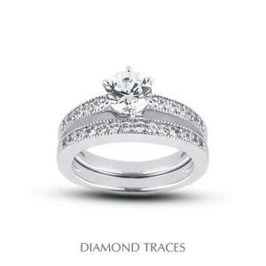 2 1/4ct D SI2 Round Natural Diamonds 14k Vintage Style Ring with Wedding Band