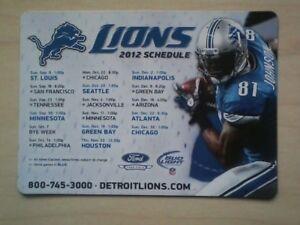 Detroit Lions 2012 Bud Light Team Magnet Schedule Featuring Calvin Johnson.