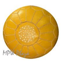 MPW Plaza Pouf, Mustard, Moroccan Leather Ottoman (Stuffed)