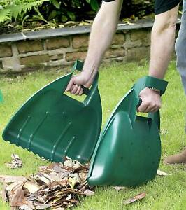 Leaf Grabber Pair Hand Held Collector Grabs Gather Leaves Garden Cleaning Scoops