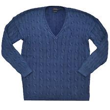 Polo Ralph Lauren Womens Sweater Cable Knit Pony Pima Cotton V Neck Split Hem