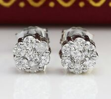.50CTW Natural VS2 / F-G Diamonds in 14K Solid White Gold Stud Earrings