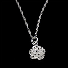 "Shiny 925 Sterling Silver PL Cute Small 3D Rose Flower Pendant Necklace 17"" Gift"