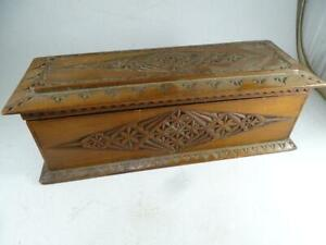 Antique Hand Carved Folk Art Wood Hinged Glove Box 1800s Tramp Vintage Vanity