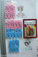 Decorative Mini PEGS with Spring MULTI 24mm; BLUE or PINK 35mm Long -Choice of 6