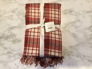 NEW Pottery Barn Christmas Red Tartan Parker Plaid Table Throw Cloth 50X50