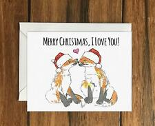 Merry Christmas I love you Foxes Greeting Card A6