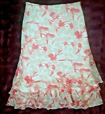 CREALINE TIERED RUFFLE SKIRT FLORAL GEOMETRIC - FRENCH DESIGNED SIZE 10
