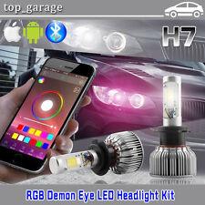 H7 2 in 1 CREE COB 60W LED Headlight Kit W/ RGB Demon Eye Bluetooth APP Control