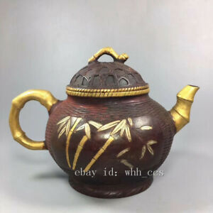 China antique purple copper Gold-plated Fishing basket Bamboo pattern hip flask