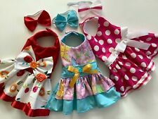 New listing Handmade bundle doggie dress with matching hair bands Xs