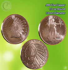 Indian Head, St. Guadens & Incuse Indian 1/2 oz .999 Copper Rounds 3 Rounds
