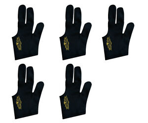 Lot of 5 Black Left handed Champion Sport Billiards Gloves For Pool Cue Sticks
