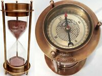 "17"" Nautical Brass Sand Timer Hourglass with Maritime Brass Compass Table Decor"