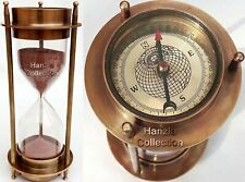 """17"""" Nautical Brass Sand Timer Hourglass with Maritime Brass Compass Table Decor"""