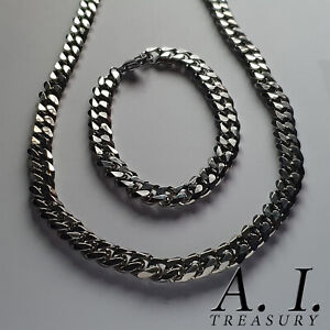 """Chain & Bracelet Set 9MM 5MM Curb Mens Stainless Silver Cuban Necklace 20"""""""