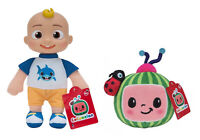 "Lot Of 2 Cocomelon 8"" Toddler JJ Doll & Watermelon Plush Set NEW Stuffed Toys"