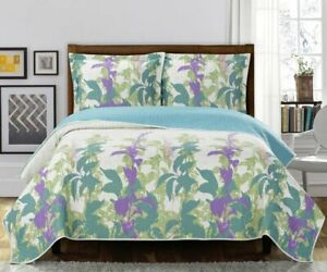 Freya Over sized 3PC Quilt Set Reversible Paisley Floral Pattern bedspread