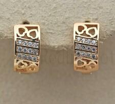 18K Gold Filled Earrings Topaz Gems Heart Stripe Hollow Multilayer Hoop Bride DS