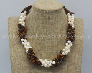 3 Rows Natural 7-8mm White Pearl & Yellow Tiger's Eye Gravel Gems Necklaces 18''
