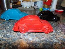 3 Vintage Avon Vw Volkswagen Beetle Bug Glass Cologne Bottles Red Blue Black Lot