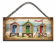 SHABBY CHIC WOODEN PLAQUE SIGN BEACH CHALET HUTS PLACE  GIFT PRESENT