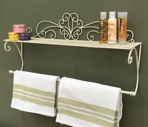Bathroom Shelf & Towel Rail Wall Mount Ornamental Cream Metal Distressed Vintage
