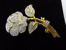 Nolan Miller Large Crystal Pave' Rose Pin Brooch Glamour Collection Estate