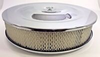 "14"" X 3"" Round Chrome Air Cleaner Assembly Flat Base Chevy SBC 350 BBC 454 Paper"