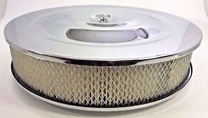 """14"""" X 3"""" Round Chrome Air Cleaner Assembly Flat Base Chevy SBC 350 BBC 454 Paper"""