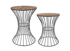 Holz Beistelltisch Metall - in 2 Größen - Deko Tisch Couchtisch Nachttisch Korb