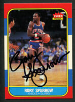 Rory Sparrow #105 signed autograph auto 1986-87 Fleer Basketball Trading Card