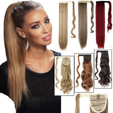 NATURAL Ponytail Clip In Hair Extension Wrap Pony Tail Fake Hairpiece as Human F
