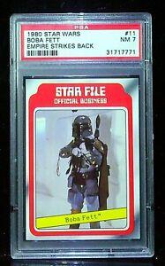 1980 topps star wars #11 boba fett rc - psa 7 - card is exploding!