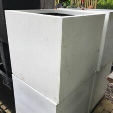 60cm CLEARANCE White Fibrestone Contemporary Box Planter/Garden Square/Plant Pot