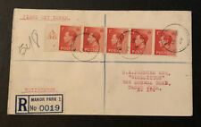 1936 Edward Viii 1d Red Strip Great Britain FDC Registered A36 Manor Park London