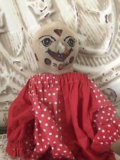Antique Clown Doll Handmade Cloth Folk Art Straw Stuffed Painted Face Creepy