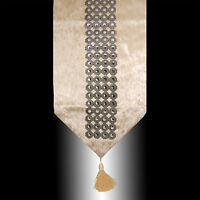 SHINY CIRCLES SILVER BEIGE THICK VELVET TASSELS WEDDING BED TABLE RUNNER CLOTH
