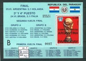 Soccer 1978 B78 MNH Paraguay Block FIFA Cup CV 40 eur