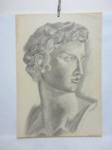 Vintage Drawing Greek God Handsome Man Portrait Signed Karen Tobias Gay Int