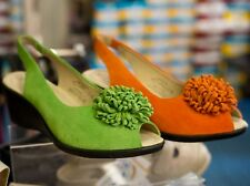 Caprice bright green summer suede wedge.