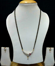 Designer Ruby Mangalsutra Chain Black Beads Earrings AD Wedding Jewellery SSC156