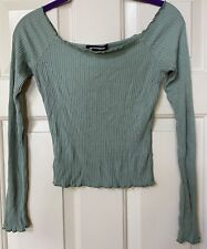 Outfitbook, knit, ribbed, top, long sleeve, viscose blend, s, green