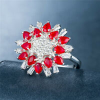 Women Rings 925 Silver Jewelry Wedding Ring White Sapphire & Ruby Size 6-10