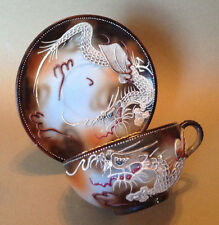 Takito Dragon Ware Tea Cup And Saucer - Hand Painted Brown With Raised Moriage
