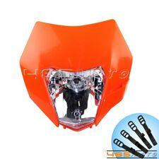 Orange Universal Dirt Bike Headlights Headlamp Fairing For KTM EXC XCF SXF SMR