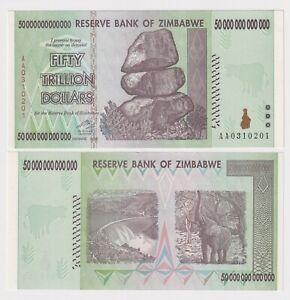 ZIMBABWE 50 TRILLION DOLLARS, 2008, P-90, AA PREFIX aUNC BANK NOTE