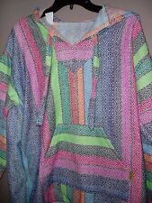 ADULT MEDIUM PASTEL RAINBOW PREMIUM BAJA HOODIE SURF HIPPIE JACKET PONCHO