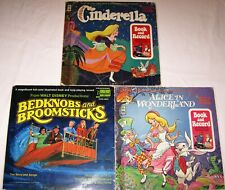 LOT of 3 Books and Vinyl - Disney Bedknobs and Broomsticks, Cinderella, Alice